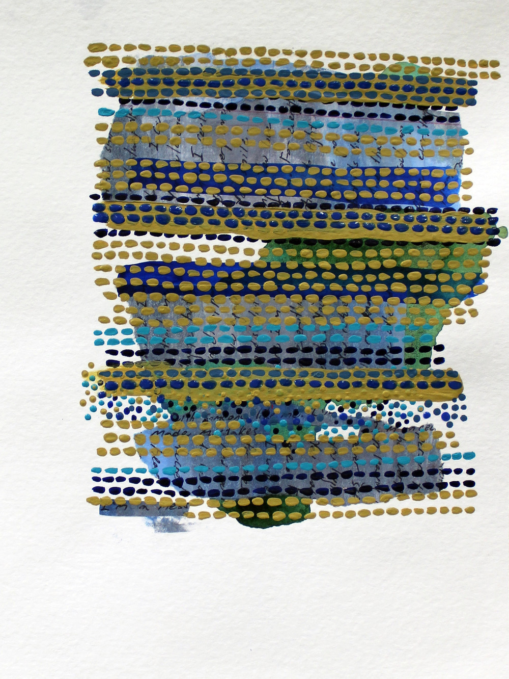 "Love Letter,  8.75 x 6.5"", paper, ink, and acrylic paint on paper, 2015 (SOLD)"