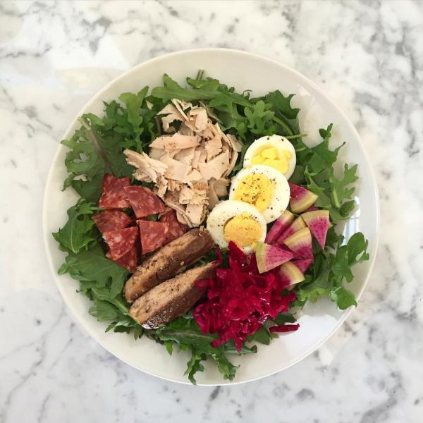 Salad Nicoise or Power Protein Plate - Sardines, Tuna, Varzi salami, egg, purple kraut, watermelon radish, greens