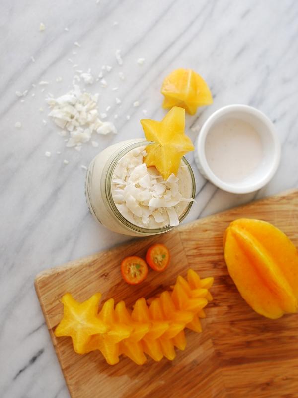 Coconut, starfruit, kumquat smoothie - tastes like a Creamsicle!
