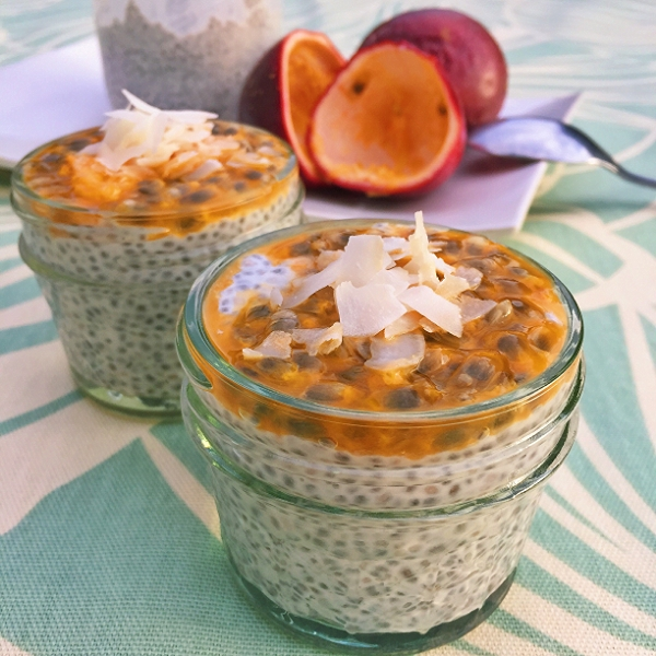 Coconut Chia Pudding with Peach-Passionfruit Compote