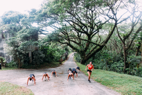 Hill Sprints & Pushups in the rainforest.