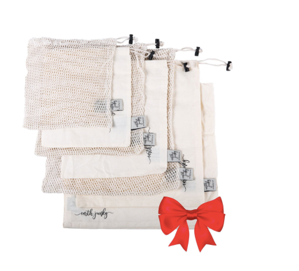 2. Mesh Bags by Earth Junky  - I love these for produce, nuts & seeds, bulk items, and anything else you can think of in the grocery store, in place of plastic bags! Washable, and comes in a 6-pack of three mesh/three muslin bags. Even works for washing delicates! ($20)