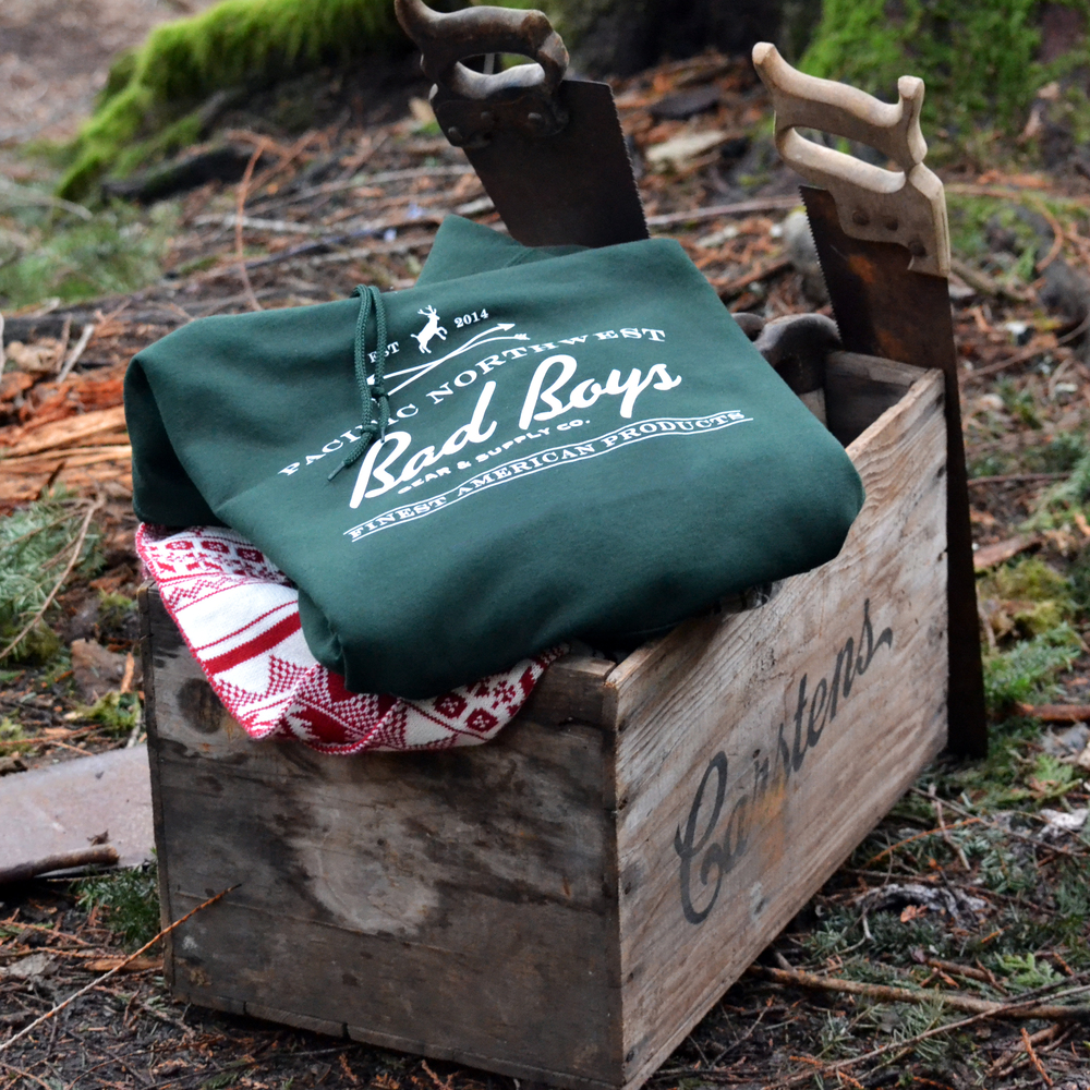 _0707 SQ [v4][rotate] Bad Boys Brands Pacific Northwest Bad Boys Gear and Supply Company Forest Green Hoodie by Graham Hnedak Brand G Creative 16 DEC 2014.jpg