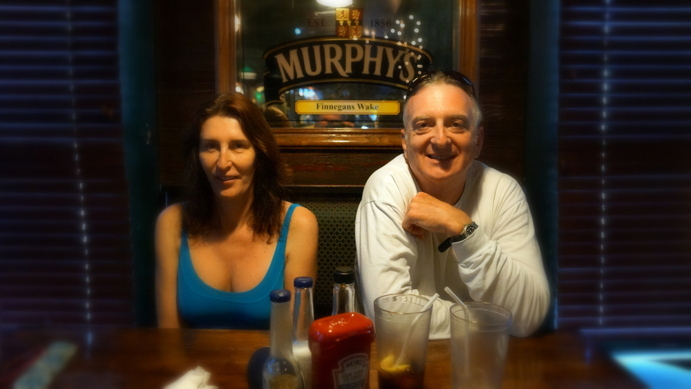 Alexandra Deegan and Alex Routh at an Irish Pub in Key West. Where Cleghorn forced them to watch football and drink pints of Harp Lager.