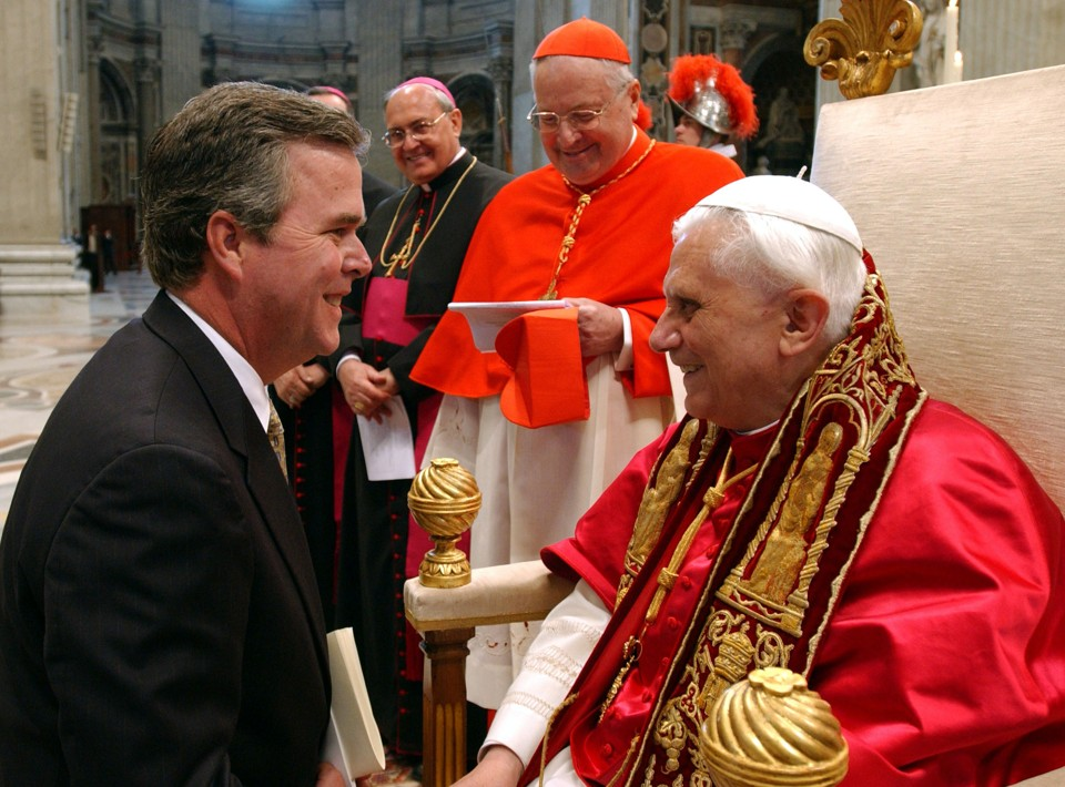 Jeb bush with the former pope. he's telling the current pope to stay out of politics because he doesn't agree with his positions. hypocrite!