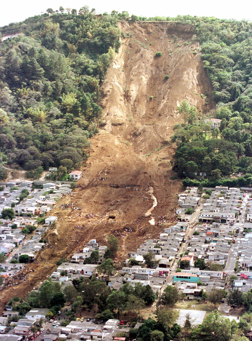 Destruction from a landslide in El Salvador