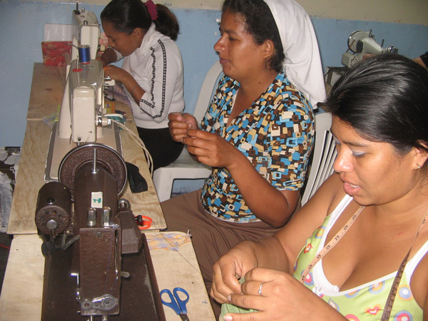 Women in our training program learning to sew.