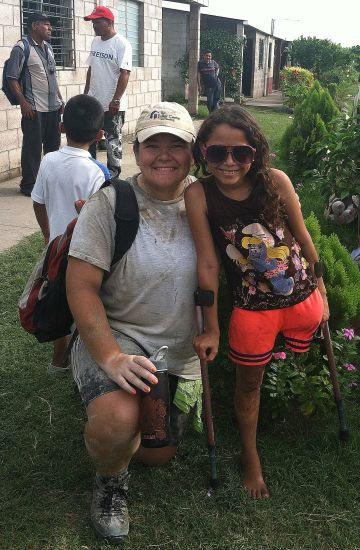 Blanca with Fuller Center Global Builders coordinator, Hailey Dady, in June.