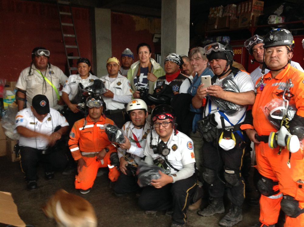 Some of the fire fighters and first responders at the Alotenango Rescue Staging Center.jpg
