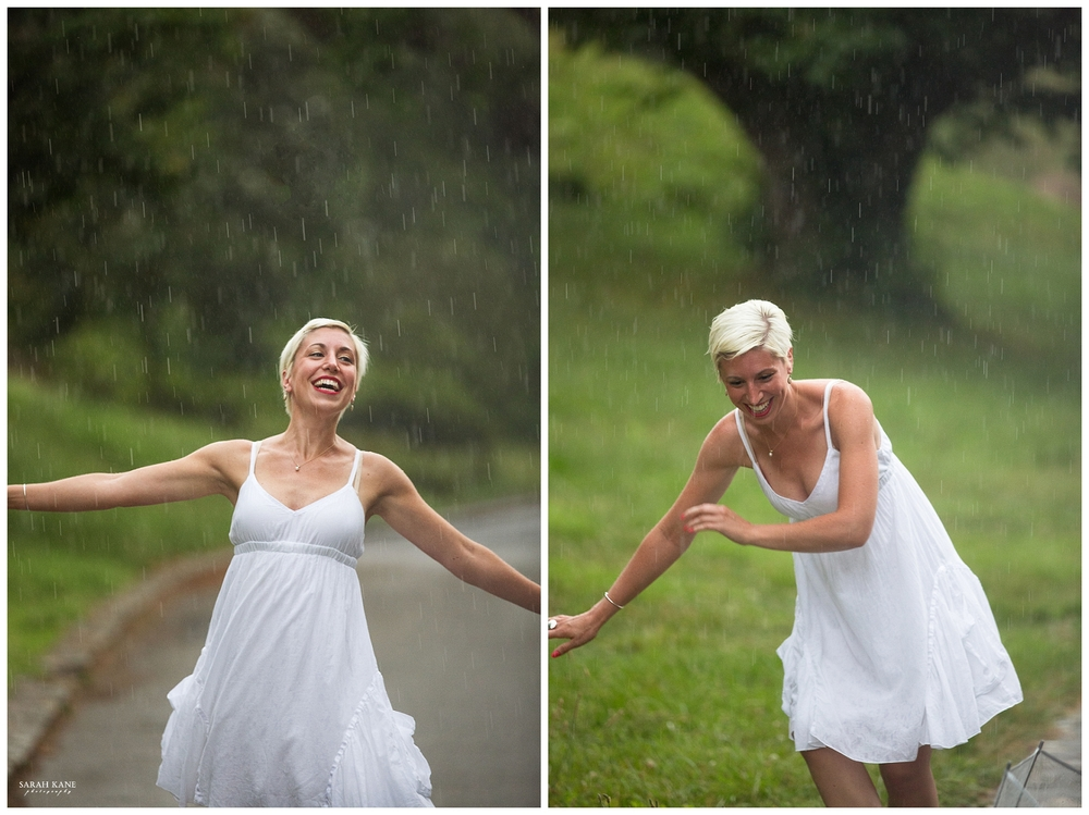 Whoa! Twirling in the rain can make a girl dizzy!