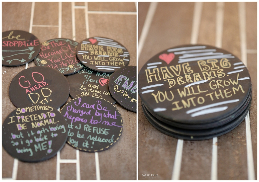 DIY chalk beverage coasters | Sarah Kane Photography