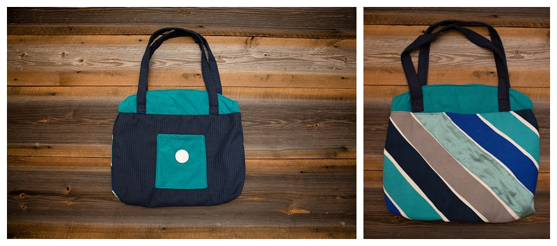 This bag has a front and back. Made from a curtain, pillow sham, bed sheet and upcycled button from my button collection.