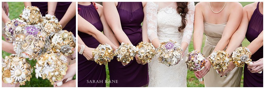 brooch wedding bouquets www.sarahkanephotography.com