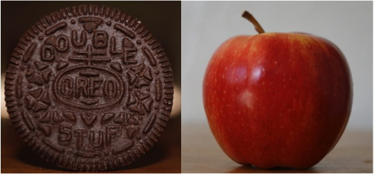 One Double Stuf Oreo cookie contains the same number of calories as an entire apple (note: these items are not sized to scale).