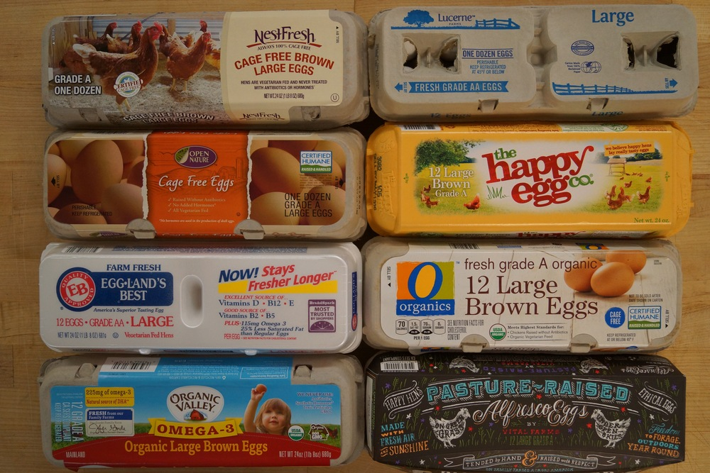 Figure 1. Egg Brands.  Reading left to right, top to bottom. NestFresh, Lucerne, Open Nature Cage Free, the Happy Egg Co., Eggland's Best, O Organics, Organic Valley Omega-3, and Alfresco Pasture Raised Eggs by Vital Farms.