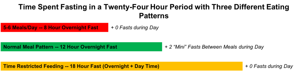 Figure 2. The Effect of Feeding Patterns on the Number of Hours Spent Fasting During a 24-Hour Period.  Prototypical eating patterns. The red bar represents frequent eating occasions (5-6/day) and 0 day-time fasting, the green bar represents a normal overnight fasting period of 12 hours and several day time fasting periods between meals (3) allowing for metabolic flexibility to occur, and the yellow bar represents time-restricted feeding and likely limited fasts during the day.