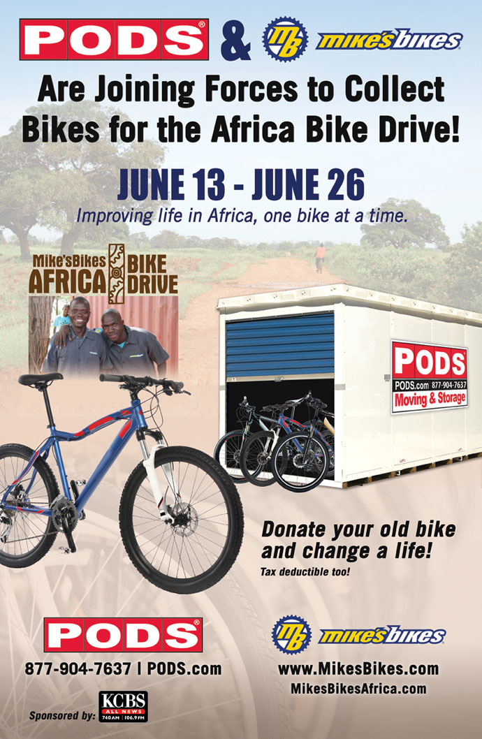 PODS & Mike's Bikes partner on a bike drive for Africa