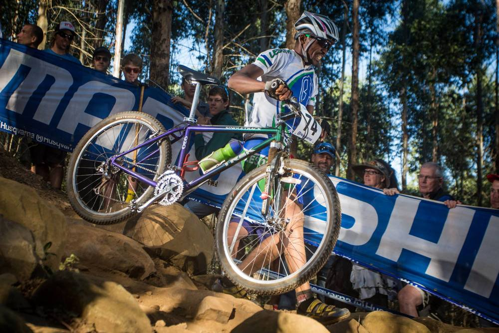 Thuso Makatise representing Lesotho at the 2013 UCI World MTB Championships in South Africa, with a bike donated through the Mike's Bikes Africa Bike Drive.