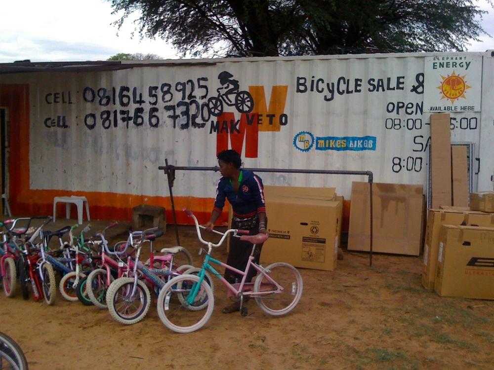 Unloading bicycles at Meketo.