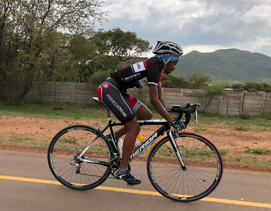 UPCYCLING KITS  - Boitshepo Lesele racing in Botswana in apparel donated through Adam Austin's donation program in Los Angeles.