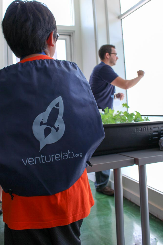 Teaching kids about hydroponic farming at VentureLab.   Click here for more photos.