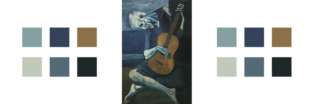 The painting The Old Guitarist with related color palette