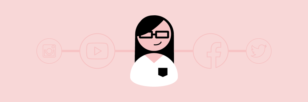 Illustration of a woman surrounded by social media icons