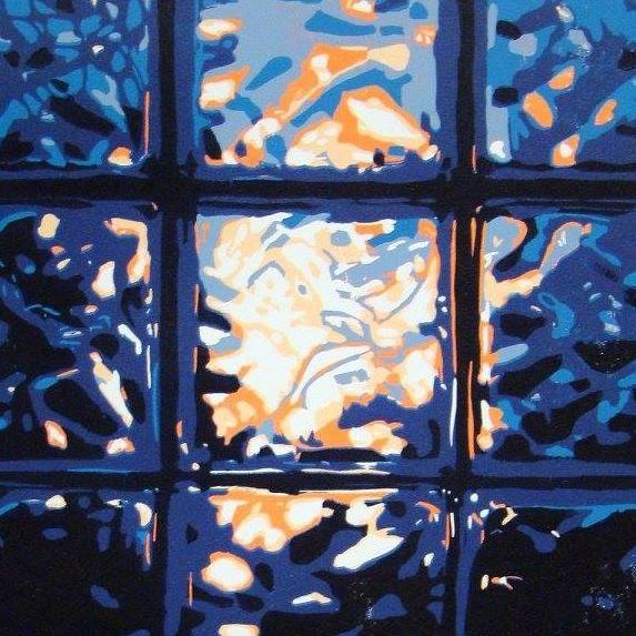 Screenprint of light shining through glass blocks