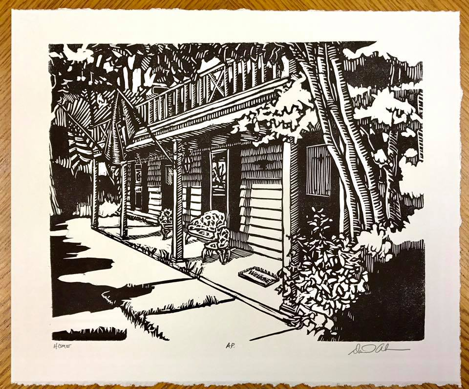 Woodblock print of a southern home