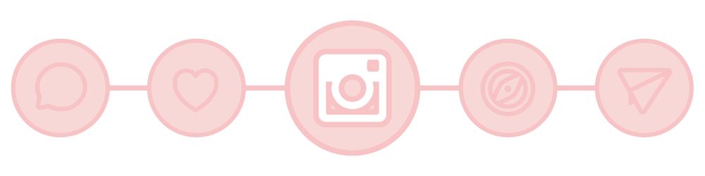 Instagram related icons in bubbles