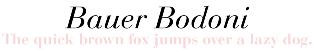 Bauer Bodoni: The quick brown fox jumps over a lazy dog.