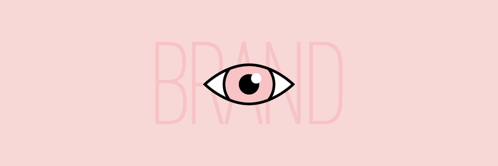 "Illustration of an eye over the word ""brand"""
