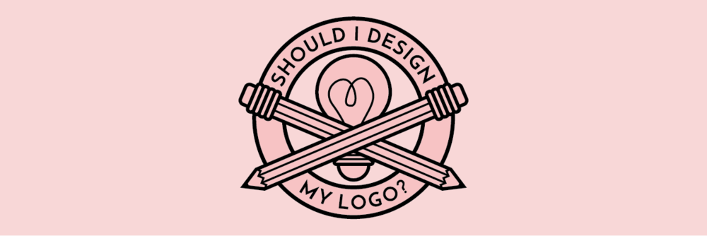 A logo with two pencils crossed over a light bulb, with a ring saying should i design my logo
