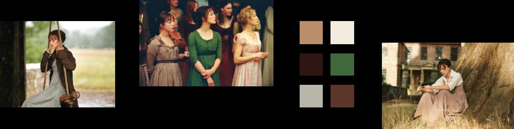 Shots of Elizabeth Bennet and a six color palette