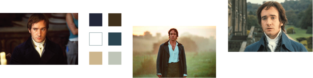 Shots of Mr. Darcy and a six color palette