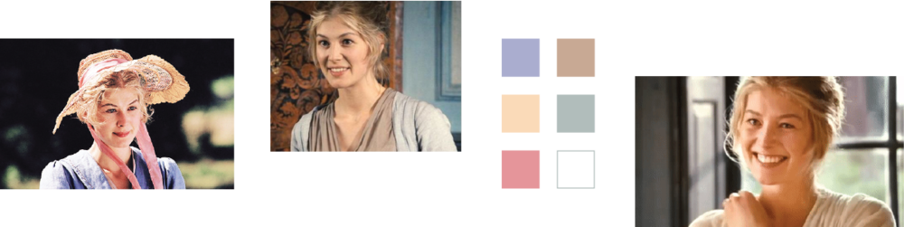Shots of Jane Bennet and a six color palette