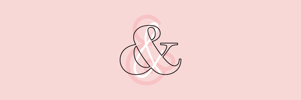Three different styles of ampersands on a pink background