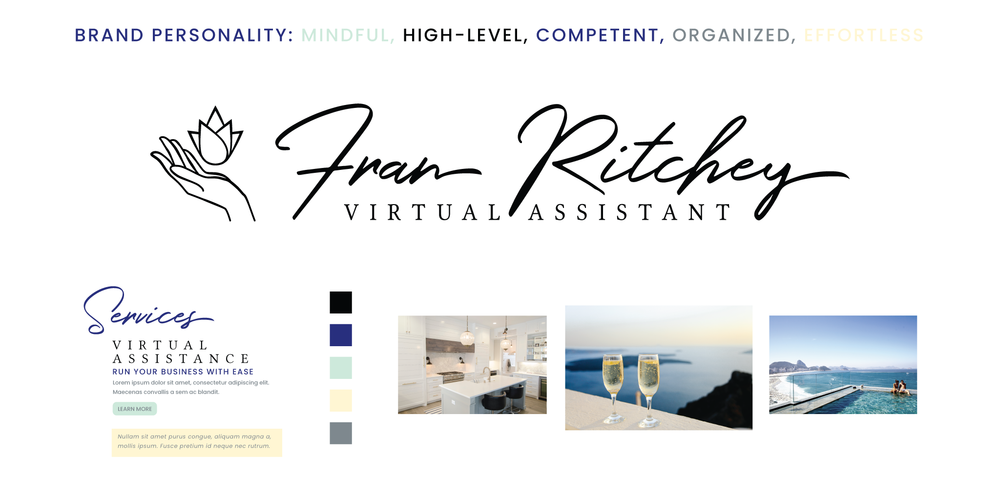 Brand board for Fran Ritchey Virtual Assistant