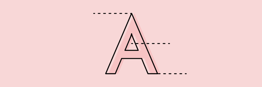 """The letter """"A"""" with dotted lines marking different parts"""