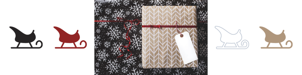 A photo of a present wrapped in craft and white patterned paper on a black and white snowflake background with associated color palette