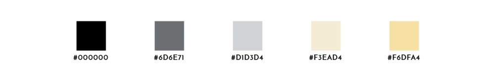 A color palette with black, two grays, and two shades of soft yellow