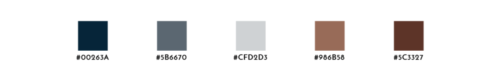 A color palette with navy, two shades of gray, and two shades of brown