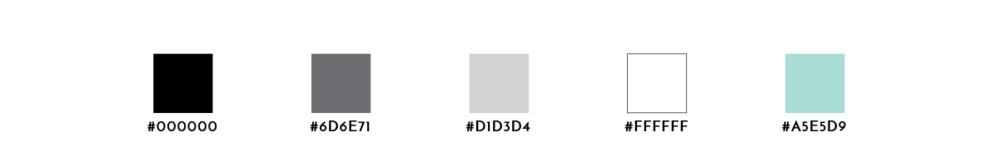 A color palette with black, two grays, white, and a seafoam green