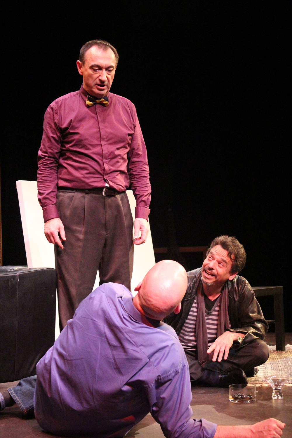 (L to R) Serge (Robert Marinier), Yvan (Andy Massingham) and Marc (David Frisch) contemplate friendship and well, art, in the comedy,   'Art'   Photography by Julie Le Gal