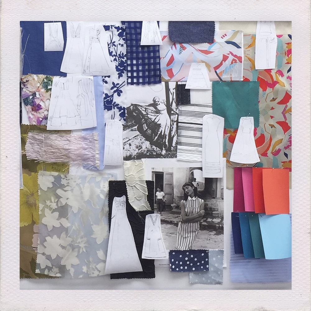 A sneak peak at Abbey's Spring 2016 moodboard featuring printed fabrics from Atlanta artist Britt Bass