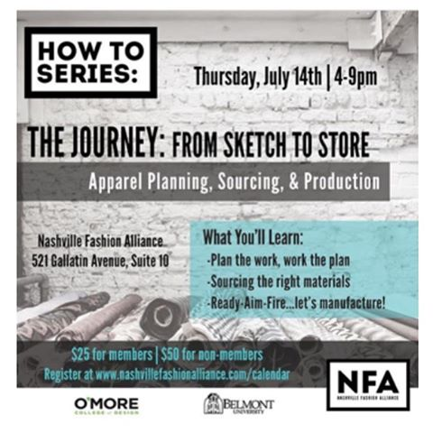Attention Nashville: Join us next Thursday July 14th for a workshop hosted by our friends @thenashvillefa Learn tips from our Production Manager and fellow industry leaders on how to bring your ideas to production! Sign up today at www.nashvillefashionalliance.com/calendar #factorygirlsatl #nashvillefashionalliance #madeinthesouth