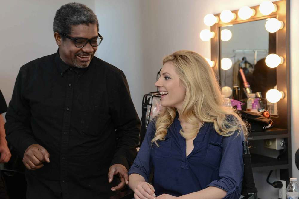 Marc Baptiste meeting Katheryn Winnick in makeup area at Aesthesia Studios, Culver City