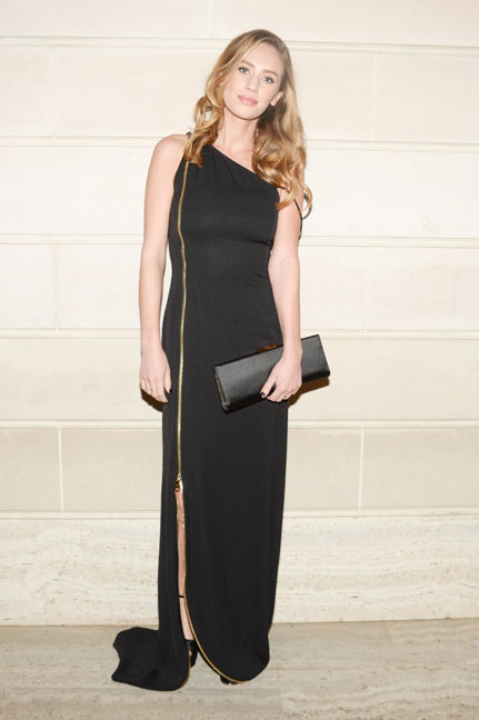 Dylan Penn arrives at the Salvatore Ferragamo 2014 Mid-Winter gala to benefit the Fine Arts Museums, San Francisco, wearing Salvatore Ferragamo