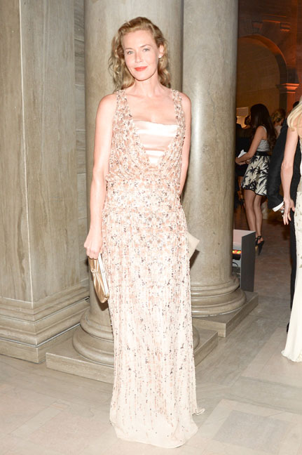 Connie Nielsen arrives at the Salvatore Ferragamo 2014 Mid-Winter gala to benefit the Fine Arts Museums, San Francisco, wearing Salvatore Ferragamo