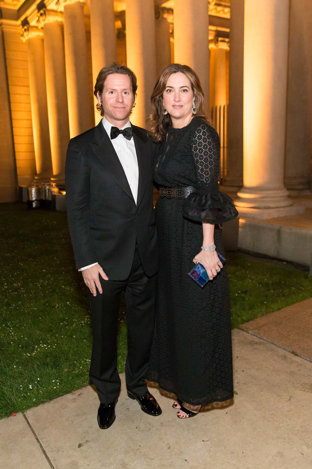 Trevor and Alexis Traina arriva at the Salvatore Ferragamo 2014 Mid-Winter gala to benefit the Fine Arts Museums, San Francisco, wearing Salvatore Ferragamo